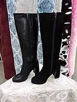 Зимние сапоги женские  на высоком каблуке 99037 кожаные замшевые на меху