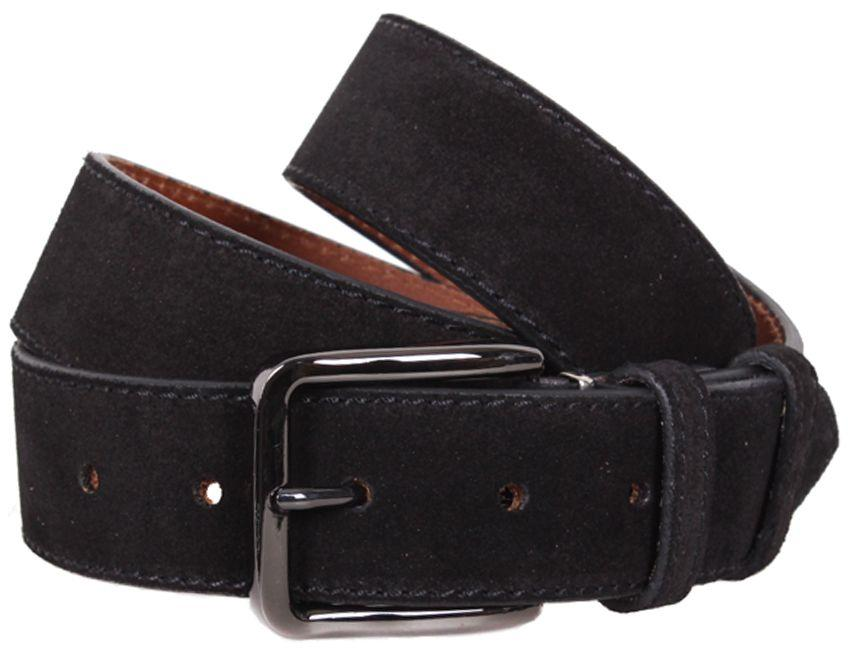 Универсальный замшевый мужской ремень DOVHANI Z63-4 черный ДхШ: 120х4 см.
