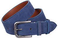 Красивый мужской замшевый ремень DOVHANI Z63-8 синий ДхШ: 120х4 см.