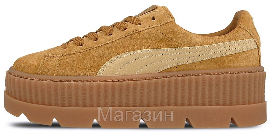 Женские кроссовки Puma Rihanna Fenty Suede Cleated Creeper Brown (в стиле  Пума Рианна) бежевые 09003b129ed6b