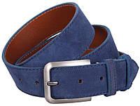 Мужской замшевый ремень DOVHANI Z63-9 синий ДхШ: 120х4 см.