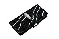 Вертикальное портмоне из кожи морского ската  Ekzotic Leather Черный (stw27), фото 1