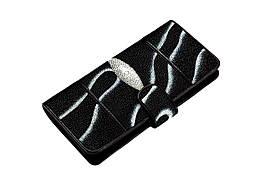 Вертикальное портмоне из кожи морского ската  Ekzotic Leather Черный (stw27)