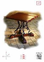 Кованый стол с деревянной столешниецй