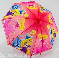 """Детский зонтик трость """"Принцессы Disney"""" с пластиковой спицей на 5-9 лет от фирмы """"SunnRain"""""""