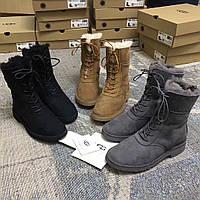Женские замшевые зимние сапоги на шнурках Ugg