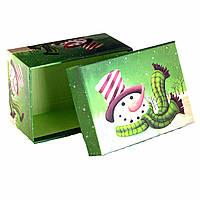 Подарочная коробка новогодняя Веселый Снеговик 11 х 8 х 5,5 см