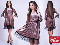 d2feffdcdfc Женское молодежное велюровое платье с шифоновой окантовкой на юбке и рукавах