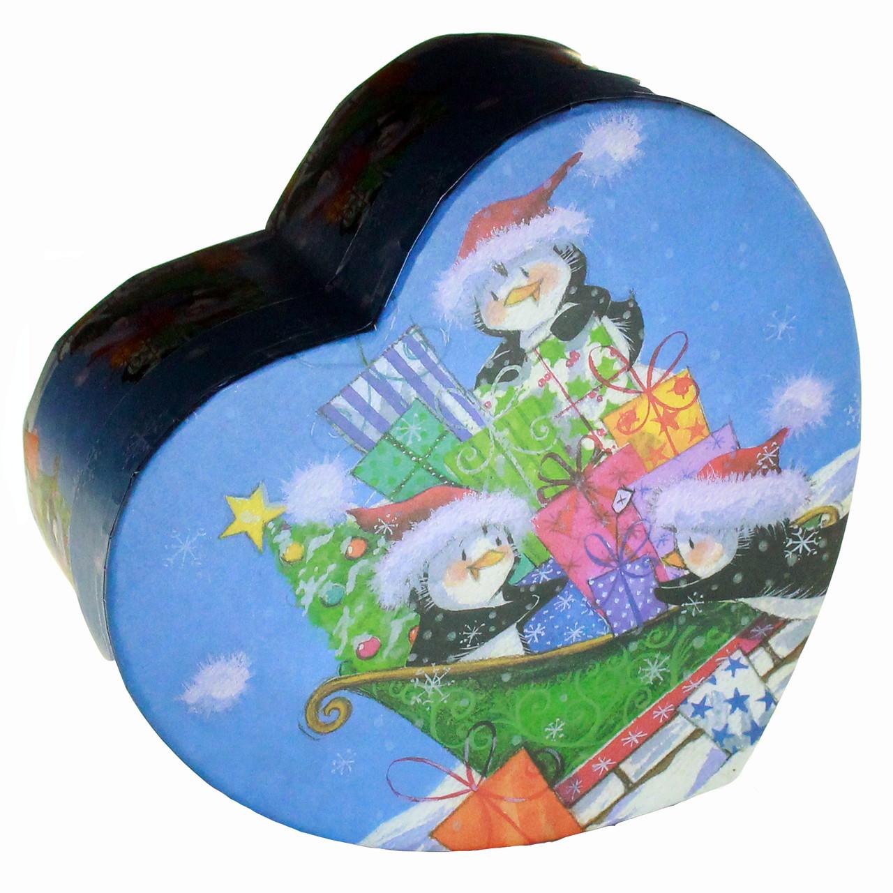 Подарочная коробка в форме сердца Новогодние Пингвины 15 x 13 x 7.2 cм