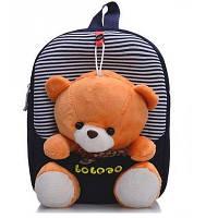 Детский рюкзак для ребенка со съемной игрушкой медвежонок, дошкольный, в садик, для мальчика и девочки