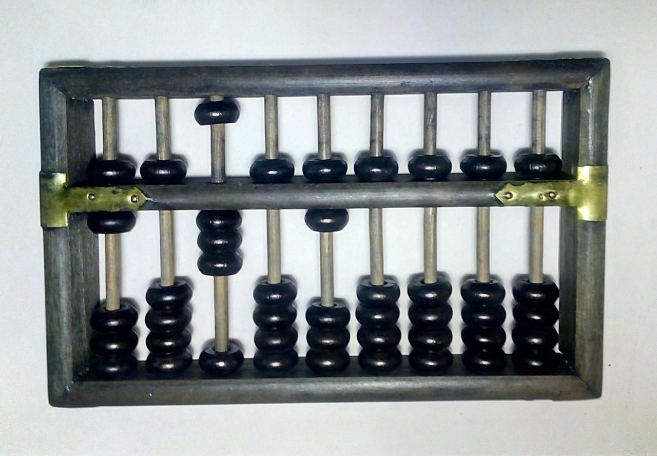 Счеты абакус соробан деревянные + шкатулка ментальная арифметика 9 рядов  20*13,5*5 СМ коричневые и черные