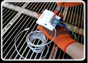 Завершальним етапом буде встановлення під інфрачервону термоплівку термодатчика і підключення терморегулятора.  Увага! Сумарна потужність термоплівки не повинна перевищувати дозволену потужність термостата.