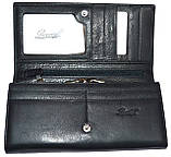Женский черный кошелек из натуральной кожи на кнопке Doveleff, фото 3