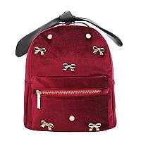 Рюкзак женский бархатный для девушек, девочек с бантиками (бордовый)