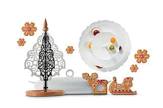 Фруктовница, конфетница Dressed for X-mas двухэтажный белый, фото 2