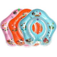 Круг на шею для купания младенцев на защелке с погремушками! Розовый