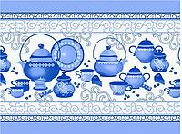 """Полотно вафельное набивное """"Чайник  голубой"""""""