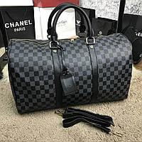 Дорожная сумка Louis Vuitton стильная большая луи витон черная, фото 1