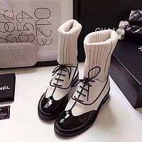 Женские демисезонные ботинки с вязанной вставкой Chanel
