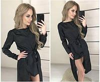 Женское необычное черное платье в мелкий горох