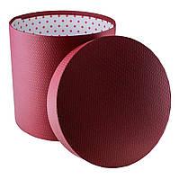 Подарочная коробка круглая бордовая 19.5 x 20 см