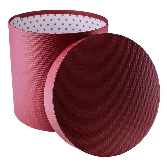 Подарочная коробка круглая бордовая 25.5 x 26 см