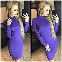 Женское облегающее короткое платье под горло