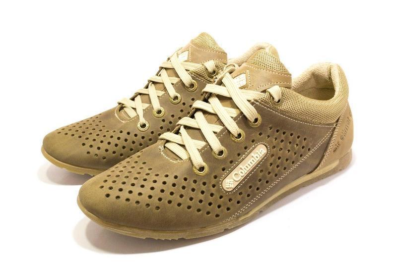 Мужские летние кожаные кроссовки Columbia (перфорация) размеры 40,41,42,43,44,45