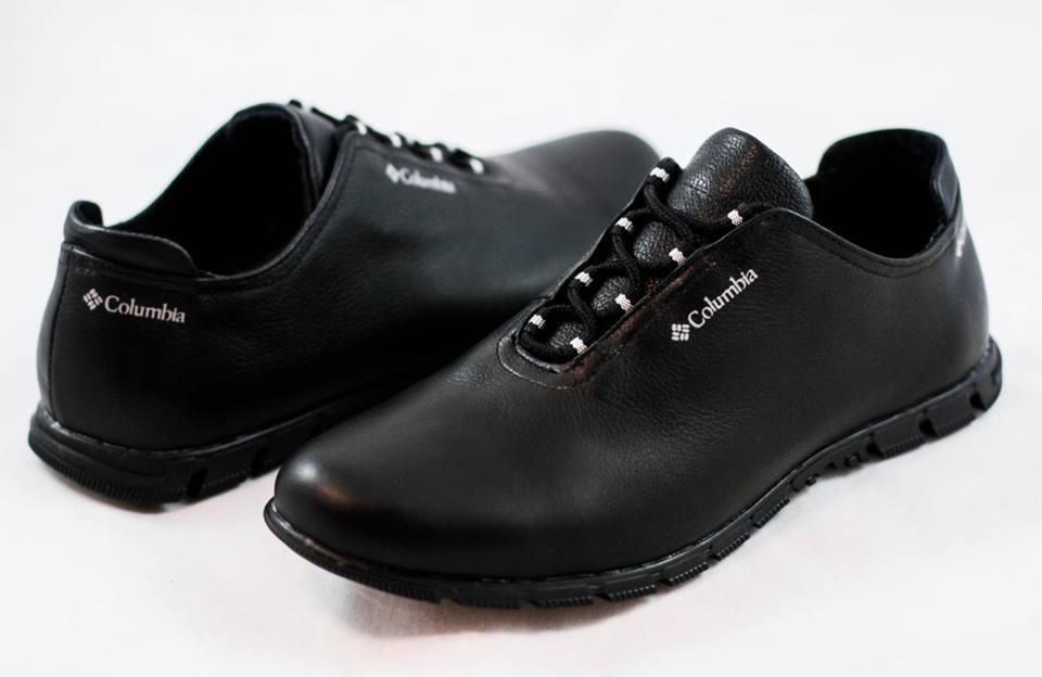 Мужские кожаные туфли кроссовки Columbia черные размеры 40, 41, 42, 43, 44, 45