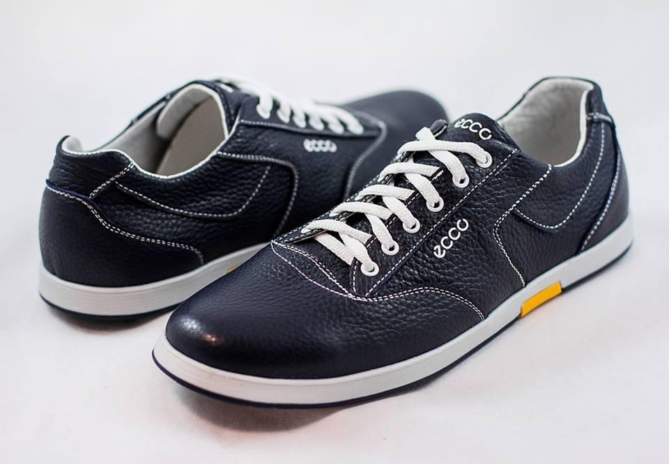 Мужские кожаные туфли кроссовки ECCO синие размеры 40, 41, 42, 43, 44, 45