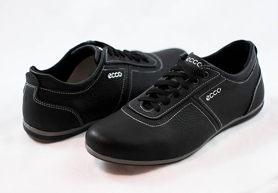 Мужские кожаные туфли кроссовки ECCO  черные размеры 40, 41, 42, 43, 44, 45