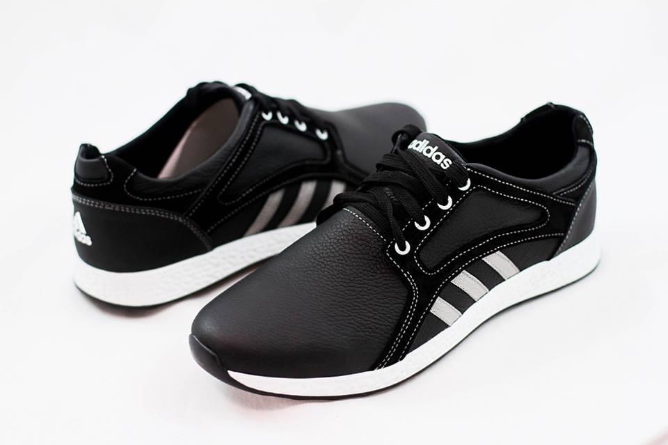 Мужские кожаные кроссовки Adidas черные размеры 40, 41, 42, 43, 44, 45