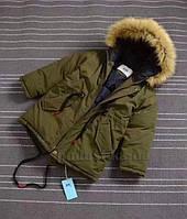 Куртка зимняя для мальчика Аляска JDK B488 зеленая 140 (10 лет)