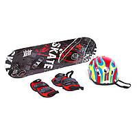 Набор скейтборд с защитой и шлемом (колеса не светятся)