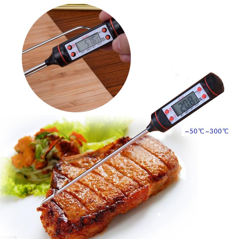Кухонный Градусник пищевой термометр, щуп, цифровой (электронный) -50 °C до +300 °C черный