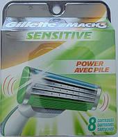 Сменные кассеты Gillette Mach3 Sensitive Power, 8 штук в упаковке, фото 1