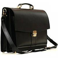 Шикарный портфель из гладкой кожи Old master арт. PAV-20Black