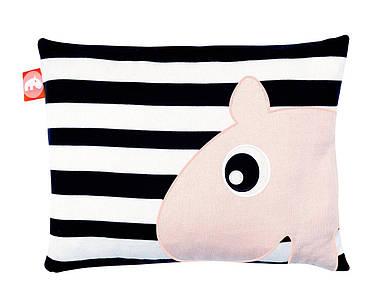 Подушка черно-белая Done by deer розовый бегемот