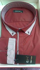 Чоловіча сорочка великого розміру батал DERGI з довгим рукавом великого розміру бордо
