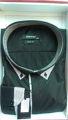 Чоловіча сорочка батал DERGI з довгим рукавом великого розміру чорна Одеса