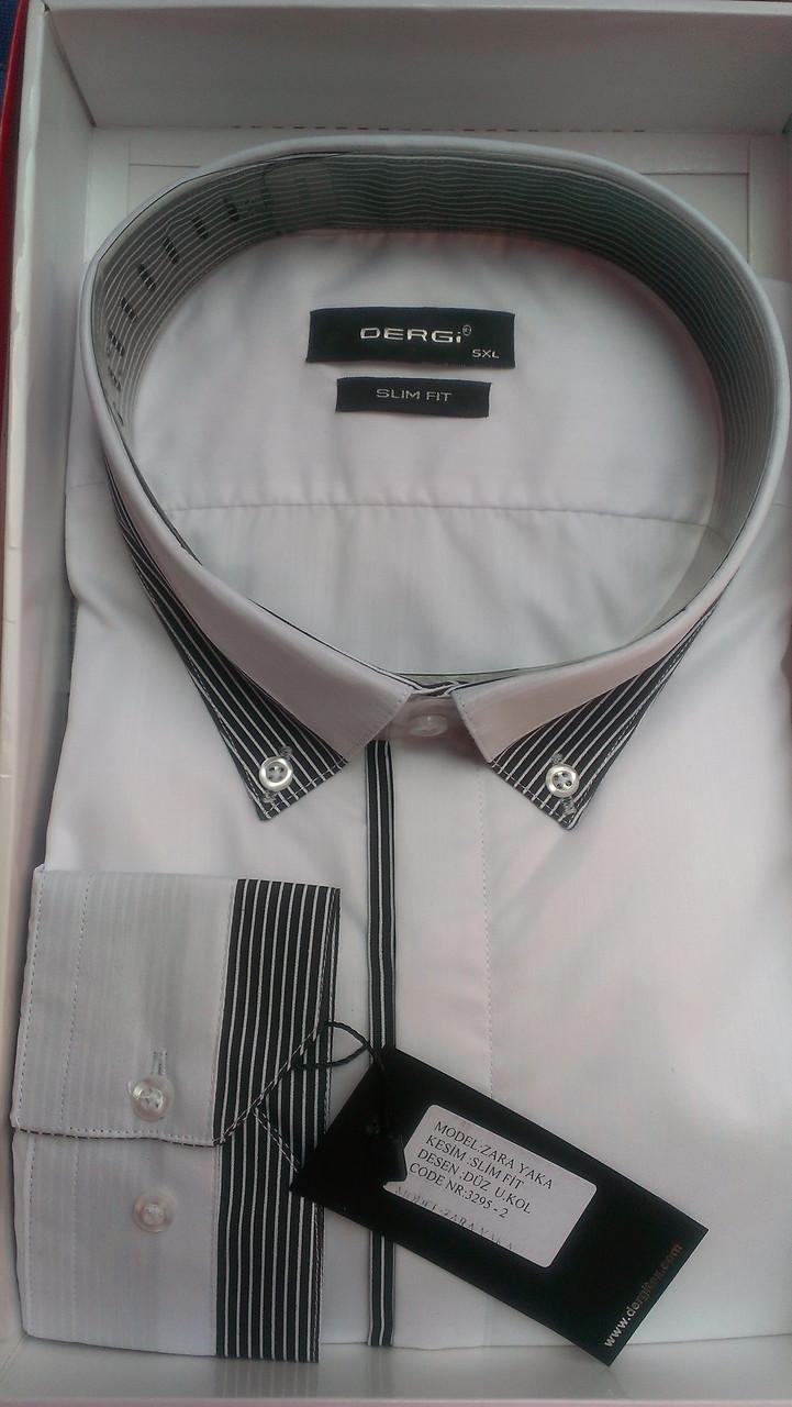 Чоловіча сорочка батал DERGI з довгим рукавом великого розміру комбінована біла Одеса