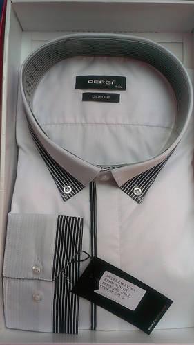 Мужская рубашка батал DERGI с длинным рукавом большого размера комбинированная белая Одесса
