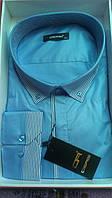 Мужская рубашка батал DERGI с длинным рукавом большого размера комбинированная голубая