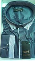 Мужская рубашка батал  DERGI большого размера с длинным рукавом комбинированная мокрый асфальт Одесса