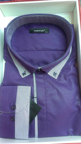 Мужская рубашка батал DERGI с длинным рукавом большого размера комбинированная фиолетовая Одесса