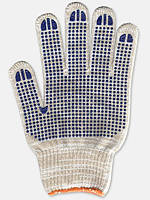 Перчатки белые с ПВХ точкой меланж 520