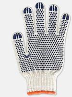 Перчатки белые с ПВХ точкой 577