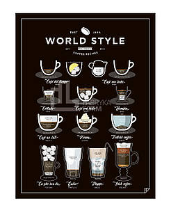 Плакат World Style Coffee 40 x 50 см