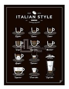 Плакат Italian Style Coffee 40 x 50 см