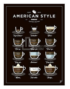 Плакат American Style Coffee 40 x 50 см